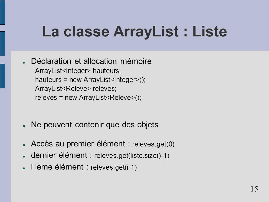 15 La classe ArrayList : Liste Déclaration et allocation mémoire ArrayList hauteurs; hauteurs = new ArrayList (); ArrayList releves; releves = new ArrayList (); Ne peuvent contenir que des objets Accès au premier élément : releves.get(0) dernier élément : releves.get(liste.size()-1) i ième élément : releves.get(i-1)