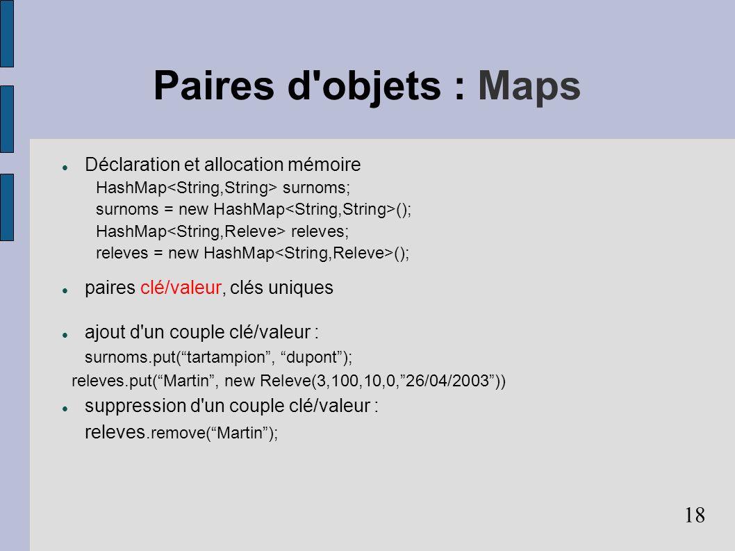 18 Paires d objets : Maps Déclaration et allocation mémoire HashMap surnoms; surnoms = new HashMap (); HashMap releves; releves = new HashMap (); paires clé/valeur, clés uniques ajout d un couple clé/valeur : surnoms.put(tartampion, dupont); releves.put(Martin, new Releve(3,100,10,0,26/04/2003)) suppression d un couple clé/valeur : releves.remove(Martin);