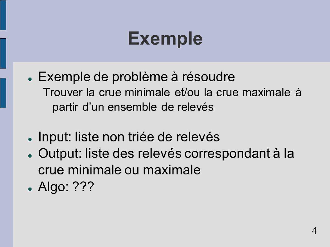 4 Exemple Exemple de problème à résoudre Trouver la crue minimale et/ou la crue maximale à partir dun ensemble de relevés Input: liste non triée de relevés Output: liste des relevés correspondant à la crue minimale ou maximale Algo: ???