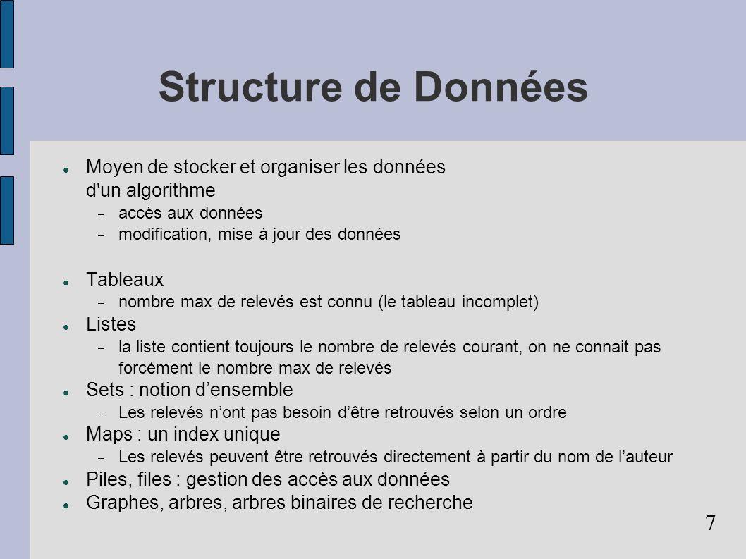 7 Structure de Données Moyen de stocker et organiser les données d'un algorithme accès aux données modification, mise à jour des données Tableaux nomb