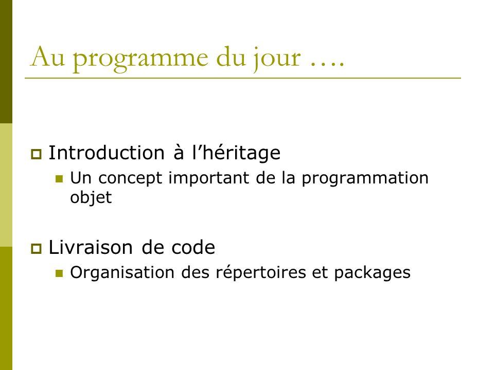 Packaging dun code Implication dans chaque classe de cette bibliothèque package nompackage; Instruction à ajouter au début des classes appartenant au package Implication sur lorganisation des fichiers Mettre les classes à compiler sous un répertoire de nom nompackage Compiler (placé au dessus du répertoire de nom nompackage) javac nompackage/ClassePackagée.Java Exécuter (placé au dessus du répertoire de nom nompackage) java nompackage.ClassePackagee