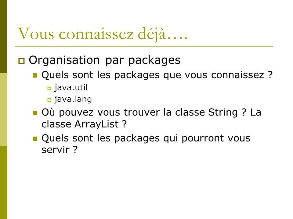 Vous connaissez déjà…. Organisation par packages Quels sont les packages que vous connaissez .