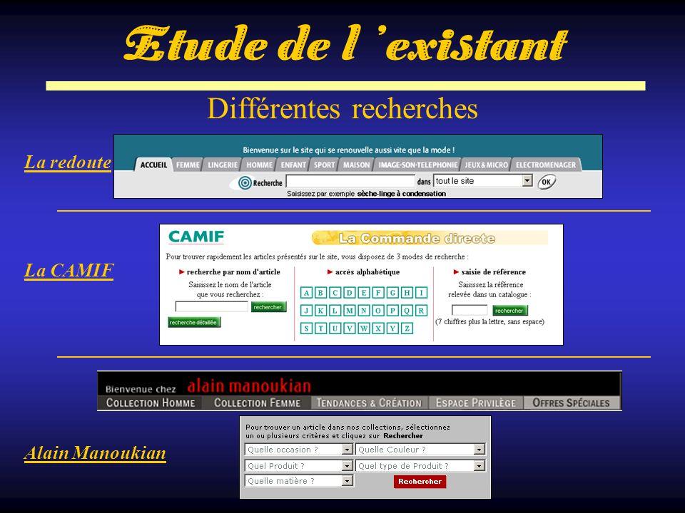 Différentes recherches La redoute La CAMIF Alain Manoukian Etude de l existant