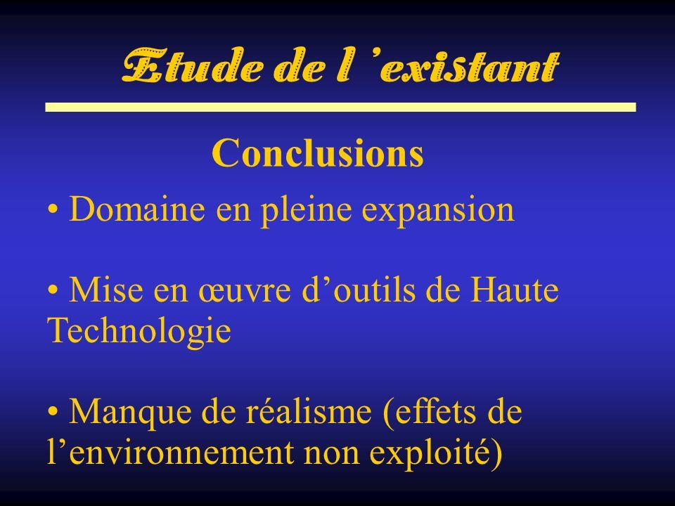 Conclusions Domaine en pleine expansion Mise en œuvre doutils de Haute Technologie Manque de réalisme (effets de lenvironnement non exploité) Etude de