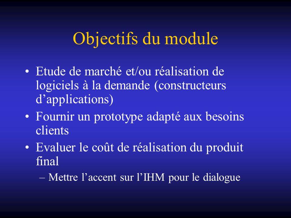 Objectifs du module Etude de marché et/ou réalisation de logiciels à la demande (constructeurs dapplications) Fournir un prototype adapté aux besoins