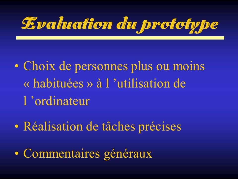 Evaluation du prototype Choix de personnes plus ou moins « habituées » à l utilisation de l ordinateur Réalisation de tâches précises Commentaires gén
