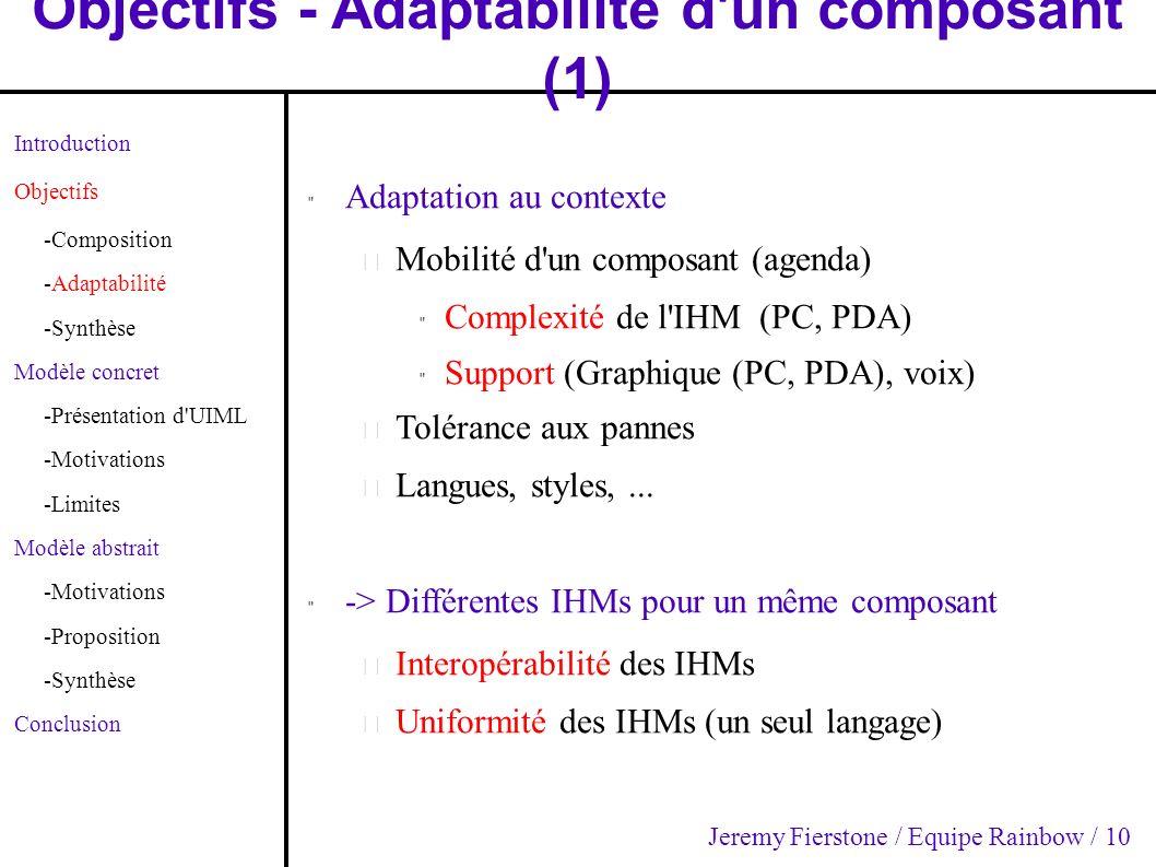Objectifs - Adaptabilité d'un composant (1)