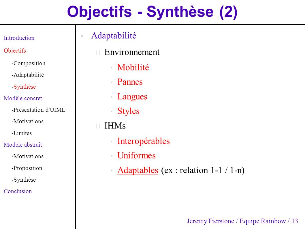 Objectifs - Synthèse (2) Introduction Objectifs -Composition -Adaptabilité -Synthèse Modèle concret -Présentation d'UIML -Motivations -Limites Modèle