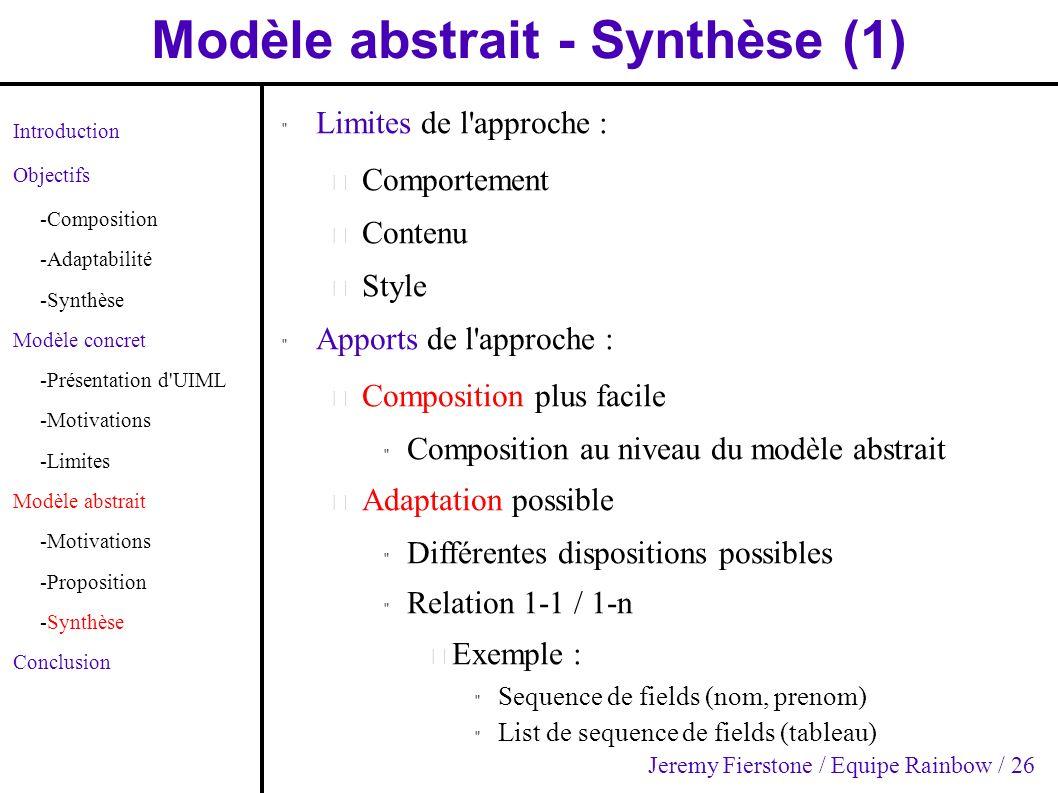 Modèle abstrait - Synthèse (1) Introduction Objectifs -Composition -Adaptabilité -Synthèse Modèle concret -Présentation d'UIML -Motivations -Limites M