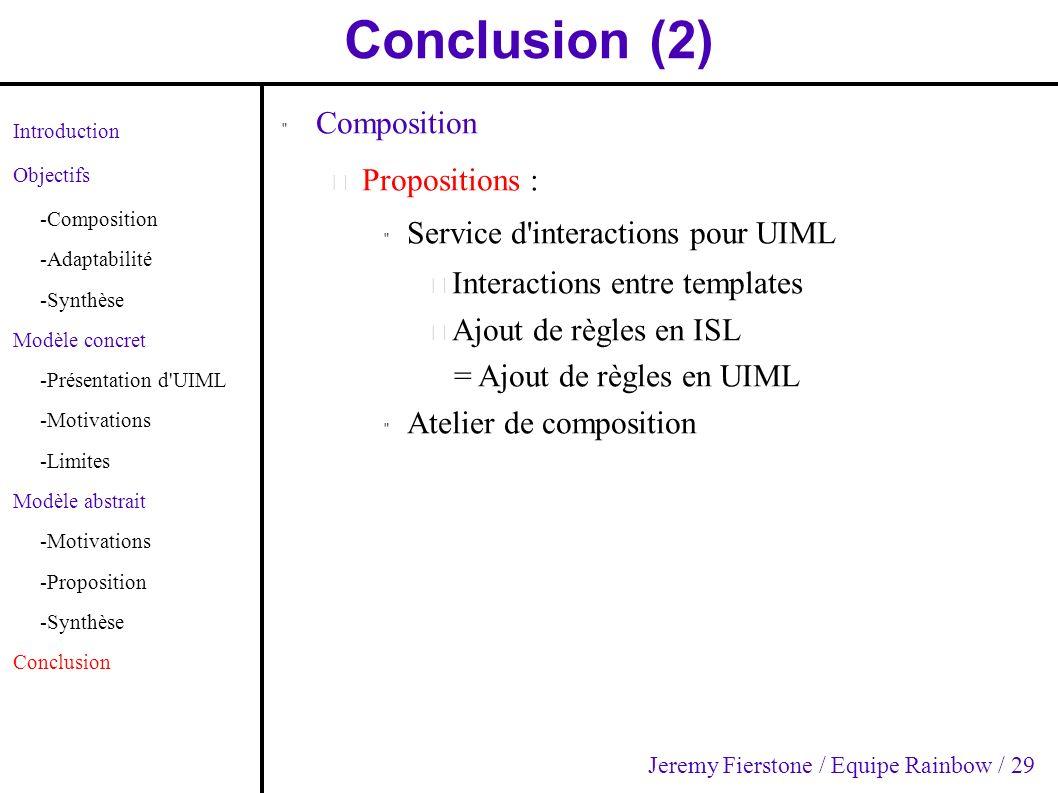 Conclusion (2) Introduction Objectifs -Composition -Adaptabilité -Synthèse Modèle concret -Présentation d'UIML -Motivations -Limites Modèle abstrait -