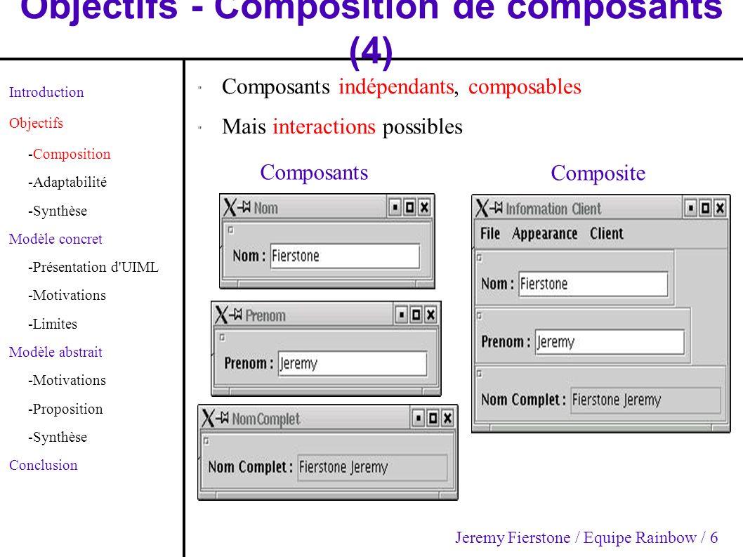 Modèle concret - Motivations (2) Introduction Objectifs -Composition -Adaptabilité -Synthèse Modèle concret -Présentation d UIML -Motivations -Limites Modèle abstrait -Motivations -Proposition -Synthèse Conclusion Exemple de composition Jeremy Fierstone / Equipe Rainbow / 17