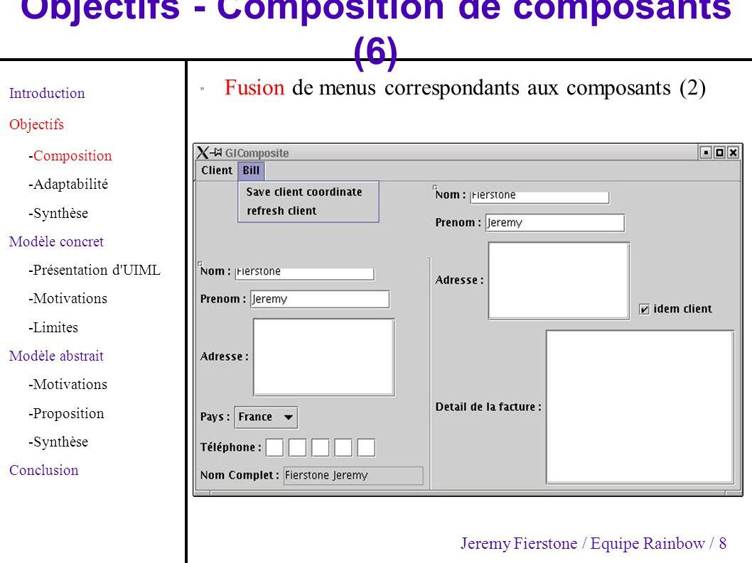 Modèle concret - Motivations (4) Introduction Objectifs -Composition -Adaptabilité -Synthèse Modèle concret -Présentation d UIML -Motivations -Limites Modèle abstrait -Motivations -Proposition -Synthèse Conclusion Composition: – Objectifs : IHMs Indépendantes – Utilisation de «template» Composables – Utilisation de «template» + «restructure» Interagissantes Interopérables – But fondamental d UIML Dérivables – Utilisation de template Fusionnables (attribut «cascade», «union», «replace») Jeremy Fierstone / Equipe Rainbow / 19