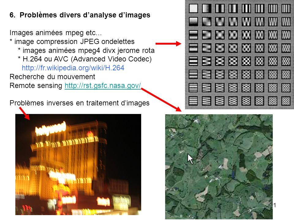 11 6. Problèmes divers danalyse dimages Images animées mpeg etc... * image compression JPEG ondelettes * images animées mpeg4 divx jerome rota * H.264