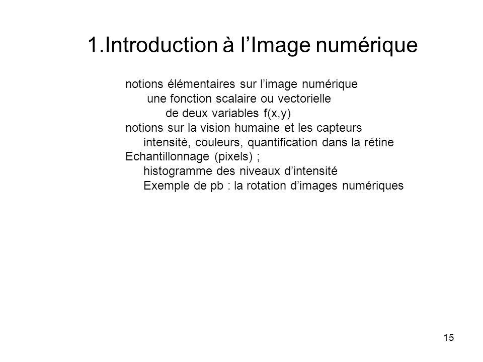 15 notions élémentaires sur limage numérique une fonction scalaire ou vectorielle de deux variables f(x,y) notions sur la vision humaine et les capteu