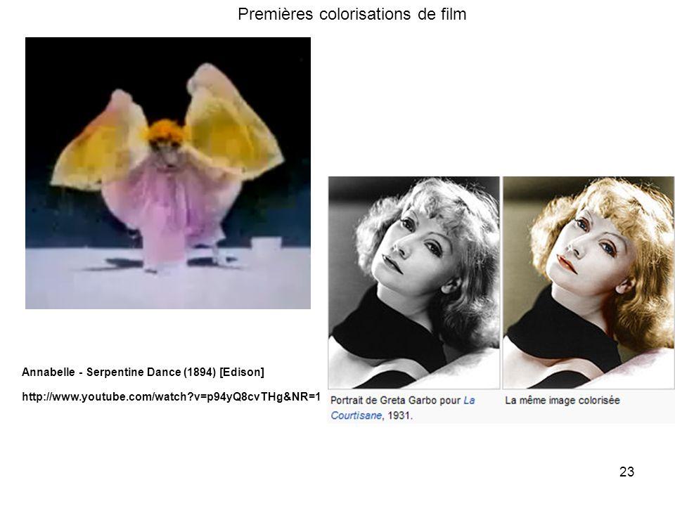 23 http://www.youtube.com/watch?v=p94yQ8cvTHg&NR=1 Annabelle - Serpentine Dance (1894) [Edison] Premières colorisations de film