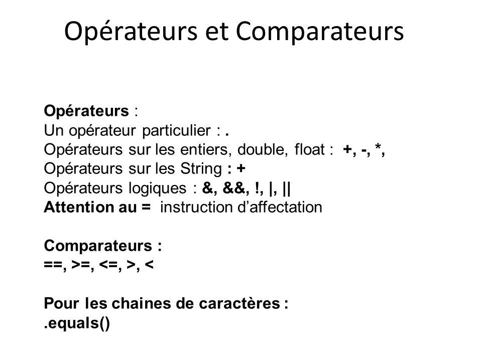 Opérateurs et Comparateurs Opérateurs : Un opérateur particulier :. Opérateurs sur les entiers, double, float : +, -, *, Opérateurs sur les String : +