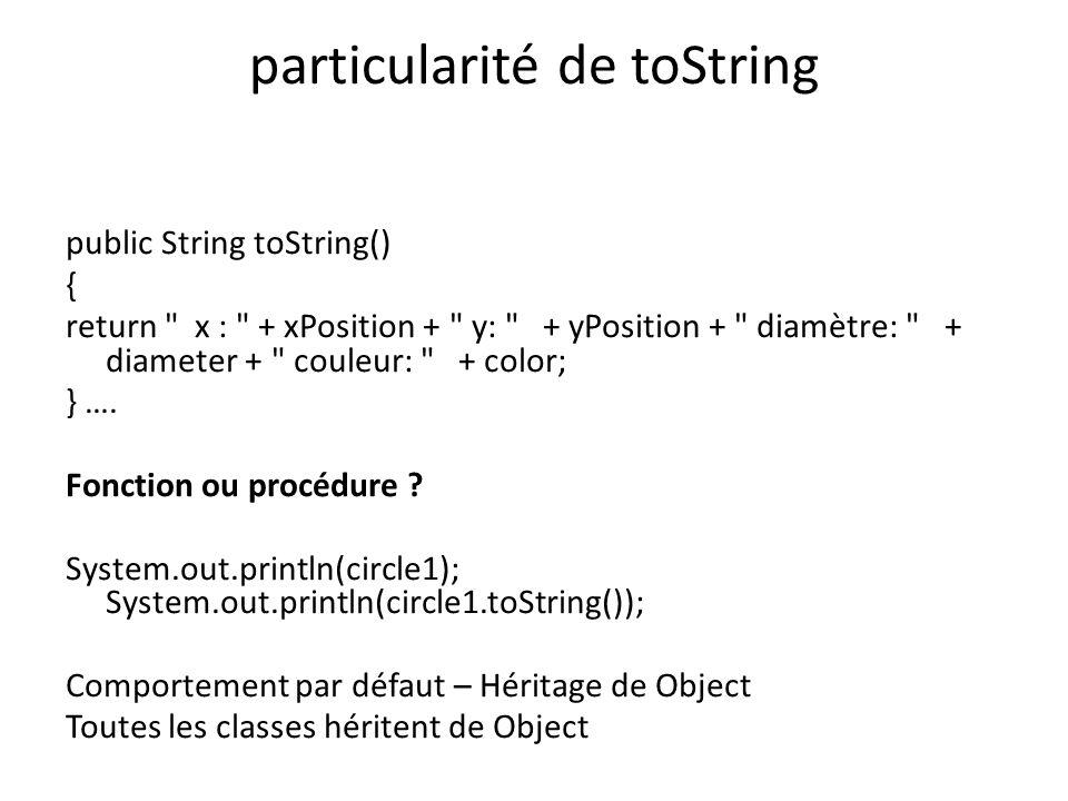 particularité de toString public String toString() { return