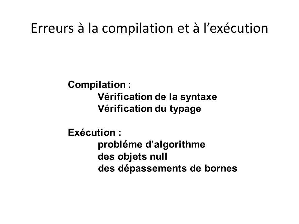 Erreurs à la compilation et à lexécution Compilation : Vérification de la syntaxe Vérification du typage Exécution : probléme dalgorithme des objets n