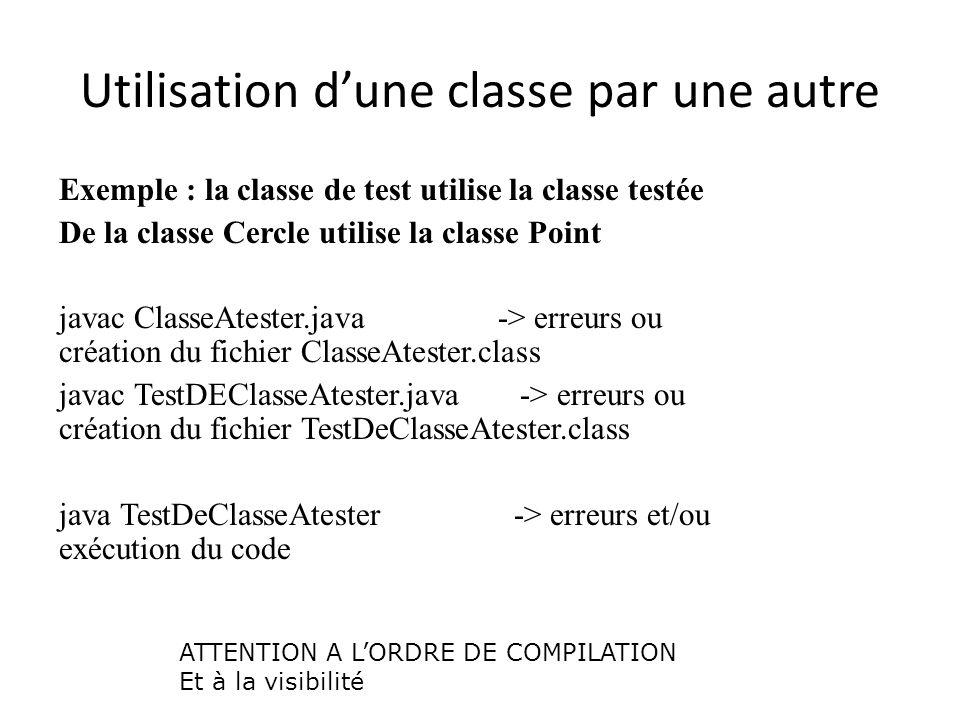 Utilisation dune classe par une autre Exemple : la classe de test utilise la classe testée De la classe Cercle utilise la classe Point javac ClasseAte