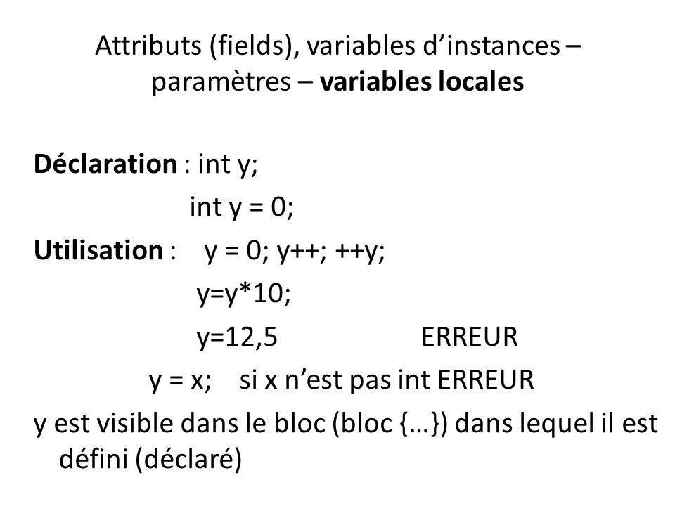 Attributs (fields), variables dinstances – paramètres – variables locales Déclaration : int y; int y = 0; Utilisation : y = 0; y++; ++y; y=y*10; y=12,