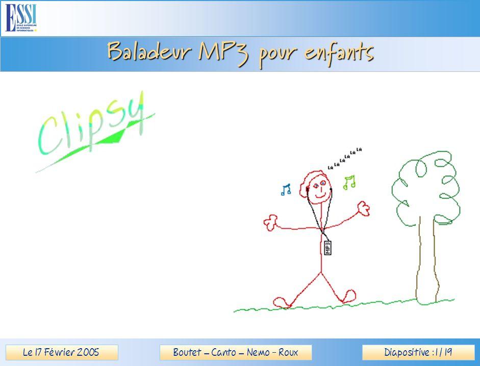 Le 17 Février 2005Diapositive : 12 / 19Boutet – Canto – Nemo - Roux Baladeur MP3 pour enfants Test coque HTML / DHTML / JavaScript Introduction Objectifs Déroulement Prototype Tests > Conclusion