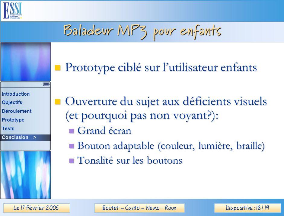 Le 17 Février 2005Diapositive : 18 / 19Boutet – Canto – Nemo - Roux Baladeur MP3 pour enfants Prototype ciblé sur lutilisateur enfants Prototype ciblé sur lutilisateur enfants Ouverture du sujet aux déficients visuels (et pourquoi pas non voyant ): Ouverture du sujet aux déficients visuels (et pourquoi pas non voyant ): Grand écran Grand écran Bouton adaptable (couleur, lumière, braille) Bouton adaptable (couleur, lumière, braille) Tonalité sur les boutons Tonalité sur les boutons Introduction Objectifs Déroulement Prototype Tests Conclusion >