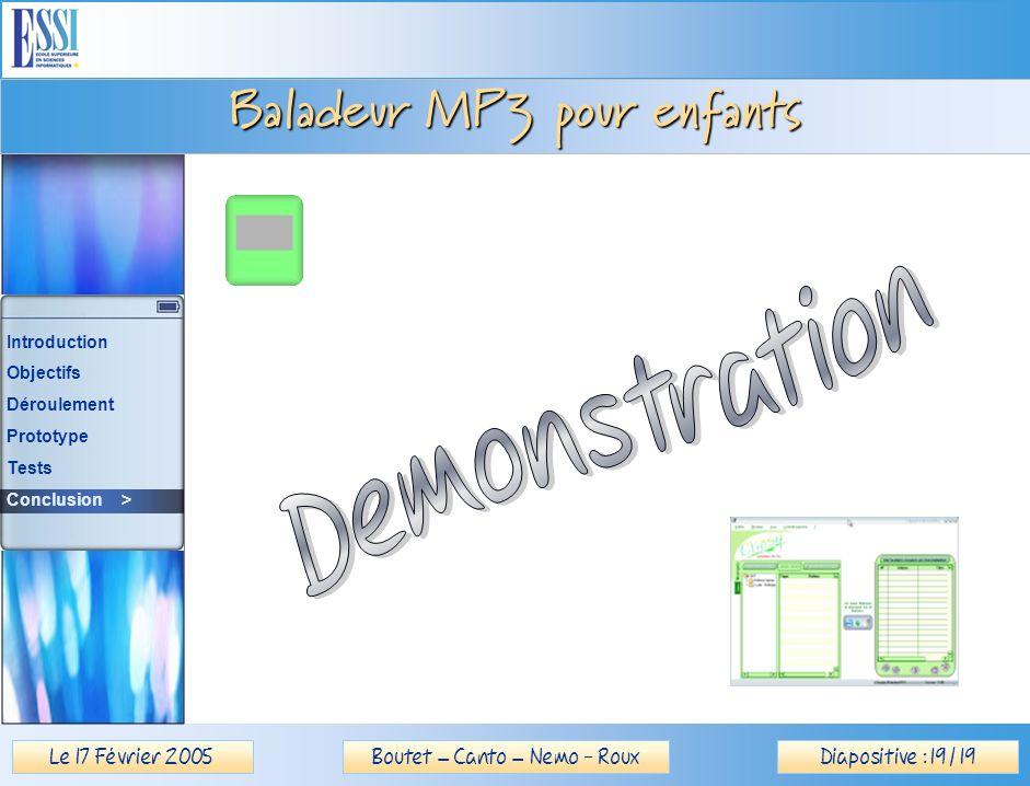 Le 17 Février 2005Diapositive : 19 / 19Boutet – Canto – Nemo - Roux Baladeur MP3 pour enfants Introduction Objectifs Déroulement Prototype Tests Conclusion >