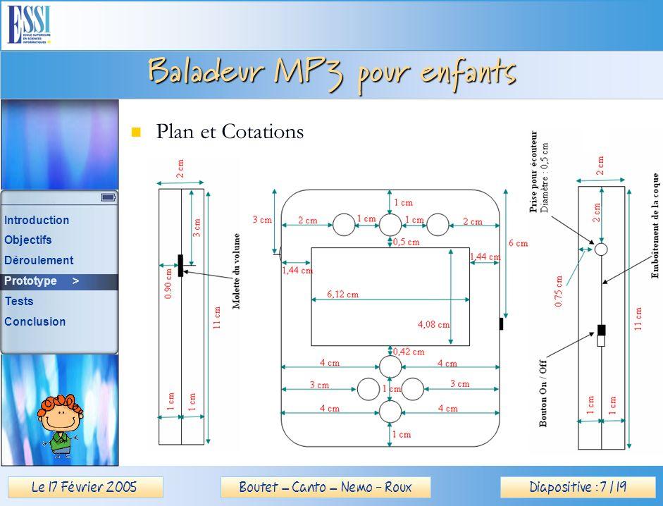 Le 17 Février 2005Diapositive : 7 / 19Boutet – Canto – Nemo - Roux Baladeur MP3 pour enfants Plan et Cotations Introduction Objectifs Déroulement Prototype > Tests Conclusion