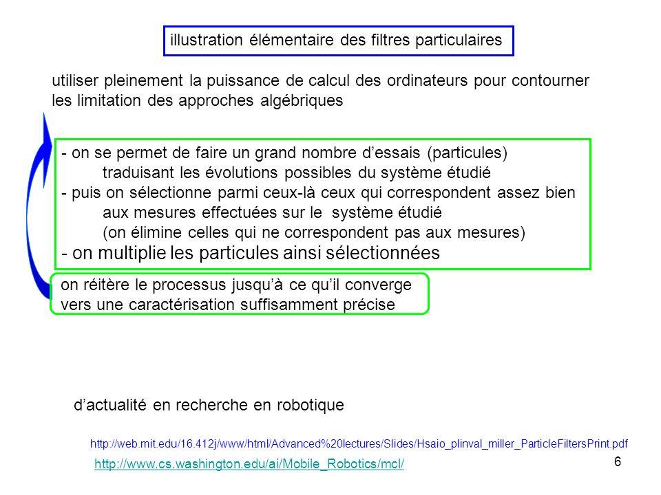 6 illustration élémentaire des filtres particulaires utiliser pleinement la puissance de calcul des ordinateurs pour contourner les limitation des approches algébriques - on se permet de faire un grand nombre dessais (particules) traduisant les évolutions possibles du système étudié - puis on sélectionne parmi ceux-là ceux qui correspondent assez bien aux mesures effectuées sur le système étudié (on élimine celles qui ne correspondent pas aux mesures) - on multiplie les particules ainsi sélectionnées on réitère le processus jusquà ce quil converge vers une caractérisation suffisamment précise http://web.mit.edu/16.412j/www/html/Advanced%20lectures/Slides/Hsaio_plinval_miller_ParticleFiltersPrint.pdf dactualité en recherche en robotique http://www.cs.washington.edu/ai/Mobile_Robotics/mcl/
