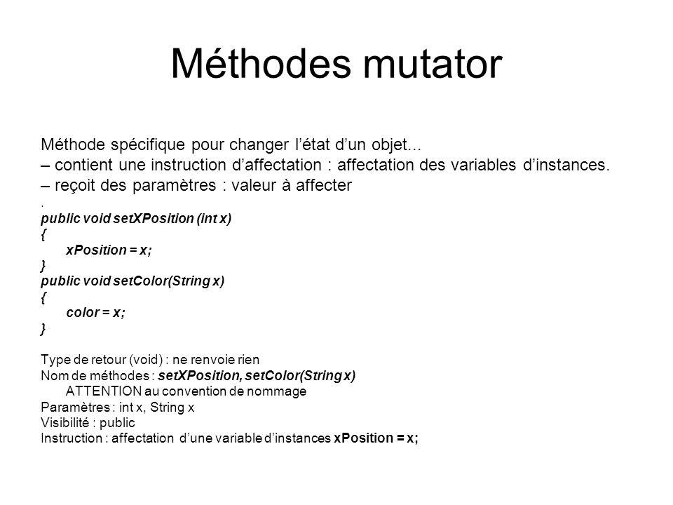 Méthodes mutator Méthode spécifique pour changer létat dun objet... – contient une instruction daffectation : affectation des variables dinstances. –