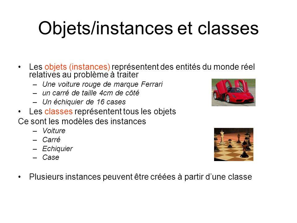 Objets/instances et classes Les objets (instances) représentent des entités du monde réel relatives au problème à traiter –Une voiture rouge de marque
