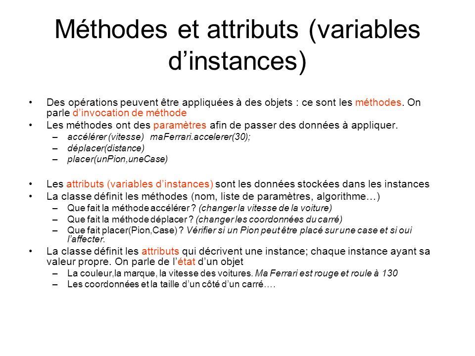 Méthodes et attributs (variables dinstances) Des opérations peuvent être appliquées à des objets : ce sont les méthodes. On parle dinvocation de métho