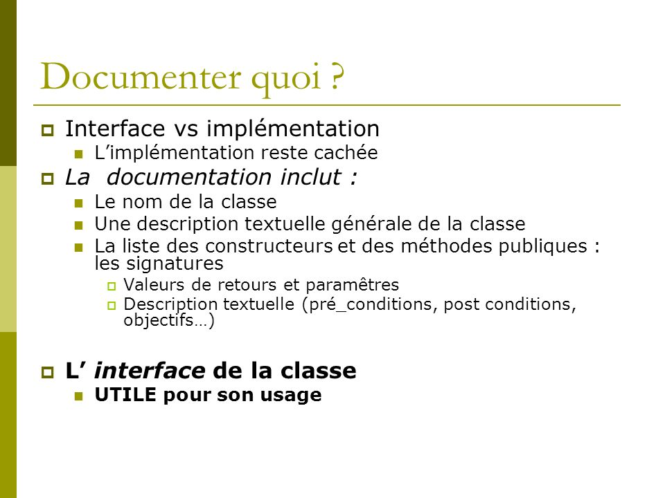Documenter quoi .