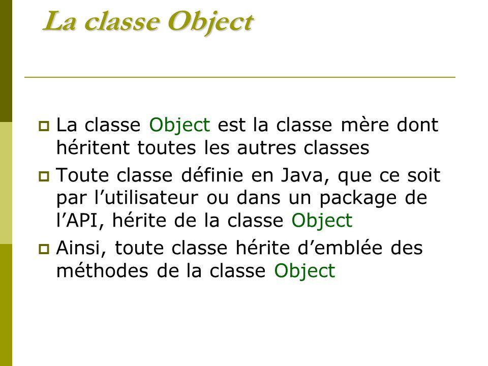 La classe Object est la classe mère dont héritent toutes les autres classes Toute classe définie en Java, que ce soit par lutilisateur ou dans un package de lAPI, hérite de la classe Object Ainsi, toute classe hérite demblée des méthodes de la classe Object
