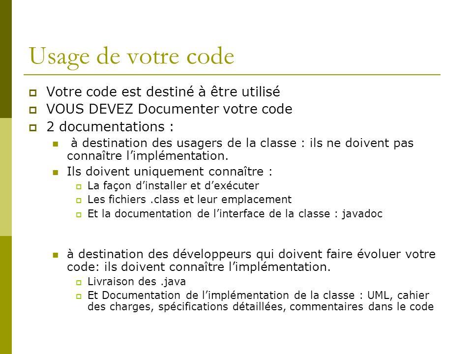 Usage de votre code Votre code est destiné à être utilisé VOUS DEVEZ Documenter votre code 2 documentations : à destination des usagers de la classe : ils ne doivent pas connaître limplémentation.