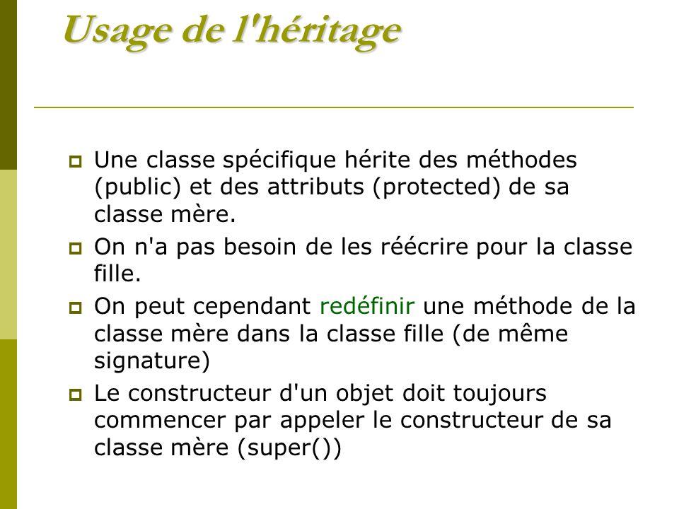 Usage de l héritage Une classe spécifique hérite des méthodes (public) et des attributs (protected) de sa classe mère.