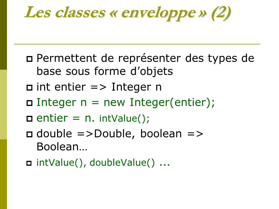 Les classes « enveloppe » (2) Permettent de représenter des types de base sous forme dobjets int entier => Integer n Integer n = new Integer(entier); entier = n.
