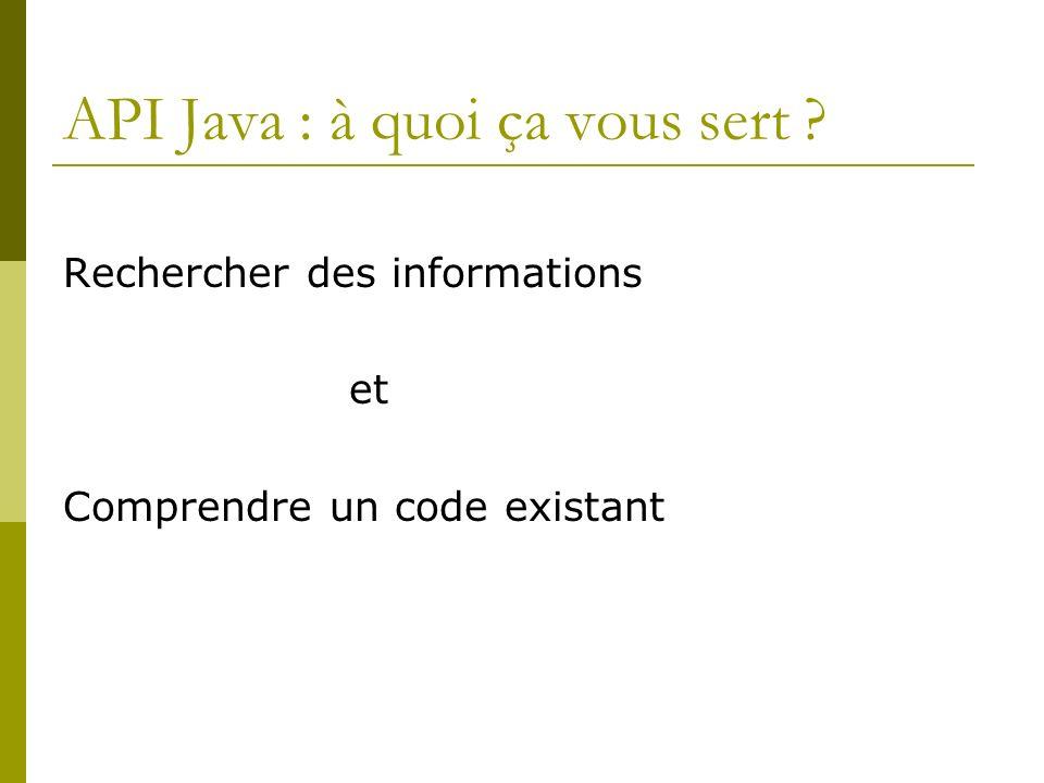 API Java : à quoi ça vous sert Rechercher des informations et Comprendre un code existant