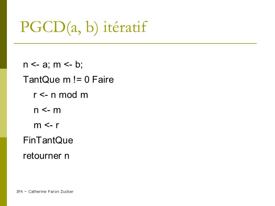 IPA – Catherine Faron Zucker PGCD(a, b) récursif diviser: pgcd(a,b) = pgcd(b, a mod b) semblable au problème initial de taille moindre régner: pgcd(a,0) = a combiner: pgcd(a,b)= pgcd(b,a mod b)=...