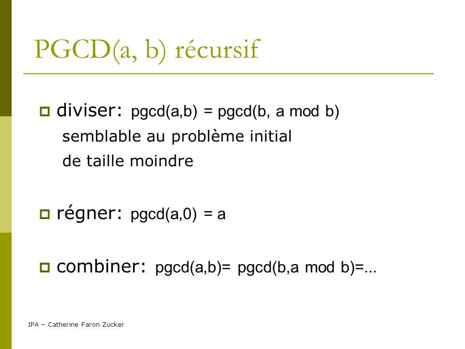IPA – Catherine Faron Zucker PGCD(a, b) récursif Si b=0 Alors retourner a //terminaison Sinon retourner pgcd(a, a mod b) finSi
