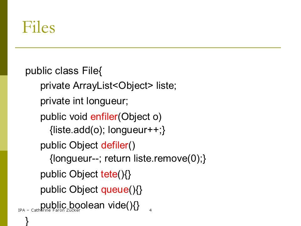 IPA – Catherine Faron Zucker5 Maps collection de paires d objets, de taille variable HashMap surnoms; surnoms = new HashMap (); paires clé/valeur, clés uniques ajout d un couple clé/valeur : surnoms.put(tartampion, dupont); suppression d un couple clé/valeur : surnoms.remove(tartampion);