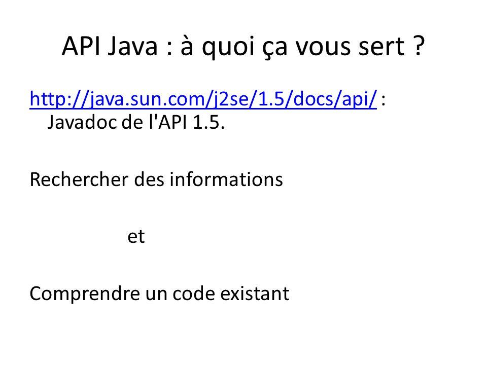 API Java : Rechercher des informations sur les types de données que lon manipule ou que lon souhaite manipuler .
