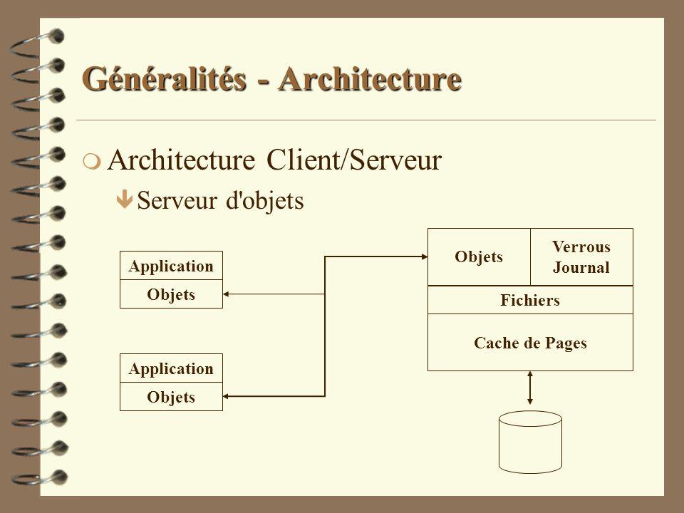 Généralités - Architecture m Architecture Client/Serveur ê Serveur d'objets Objets Fichiers Verrous Journal Cache de Pages Application Objets Applicat