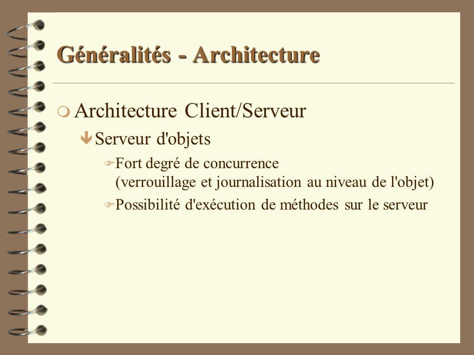 Généralités - Architecture m Architecture Client/Serveur ê Serveur d'objets F Fort degré de concurrence (verrouillage et journalisation au niveau de l