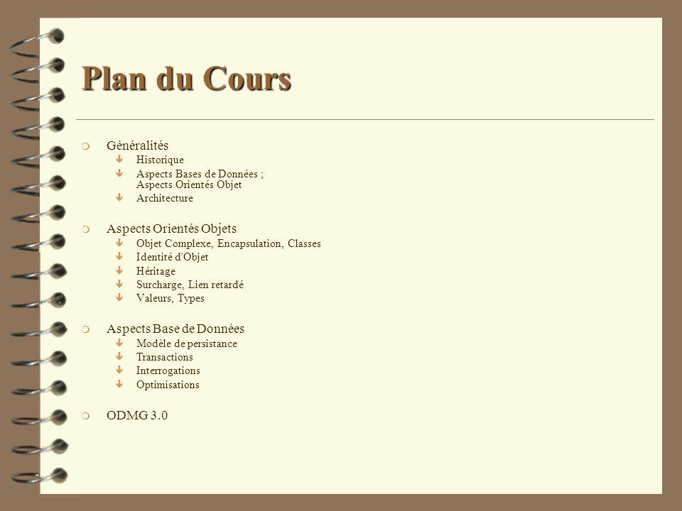Plan du Cours m Généralités ê Historique ê Aspects Bases de Données ; Aspects Orientés Objet ê Architecture m Aspects Orientés Objets ê Objet Complexe