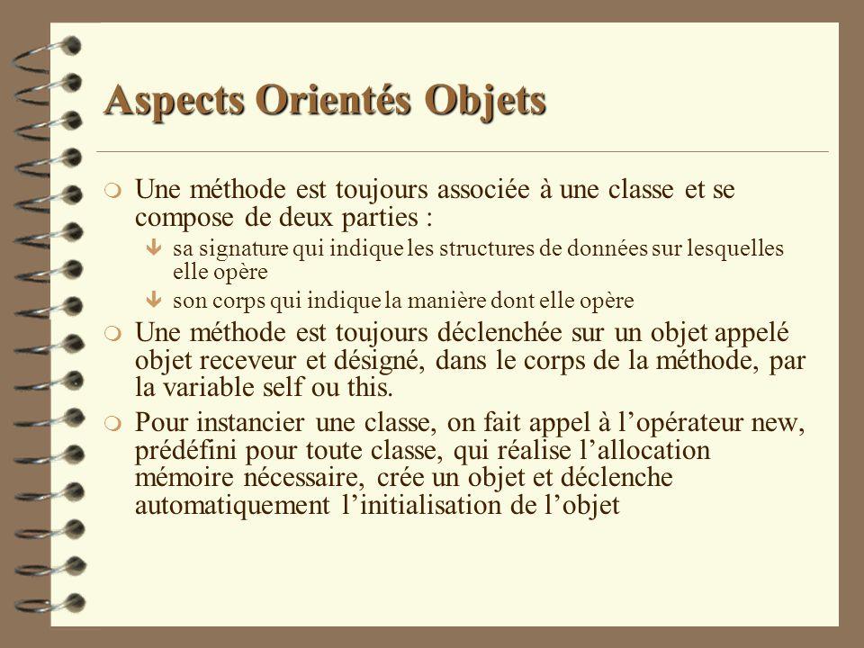 Aspects Orientés Objets m Une méthode est toujours associée à une classe et se compose de deux parties : ê sa signature qui indique les structures de
