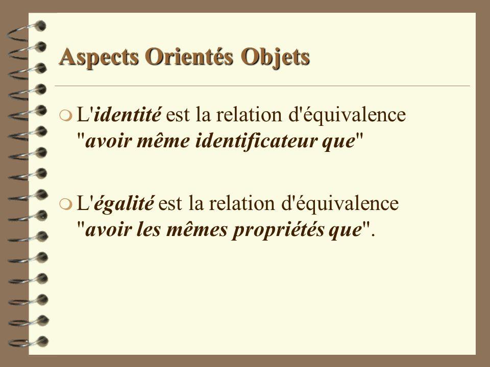 Aspects Orientés Objets m L'identité est la relation d'équivalence