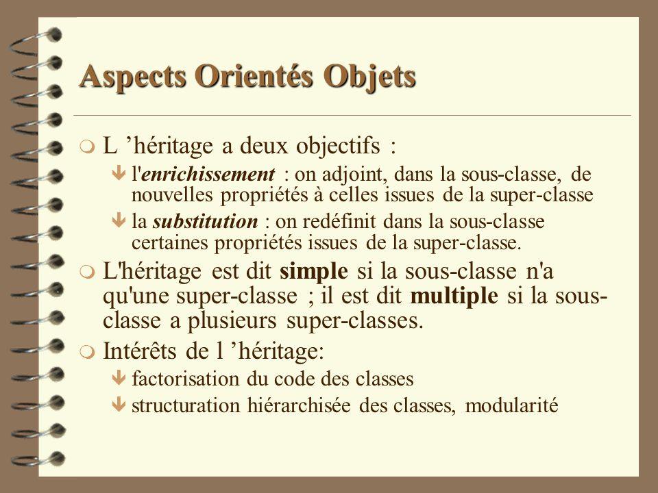 Aspects Orientés Objets m L héritage a deux objectifs : ê l'enrichissement : on adjoint, dans la sous-classe, de nouvelles propriétés à celles issues