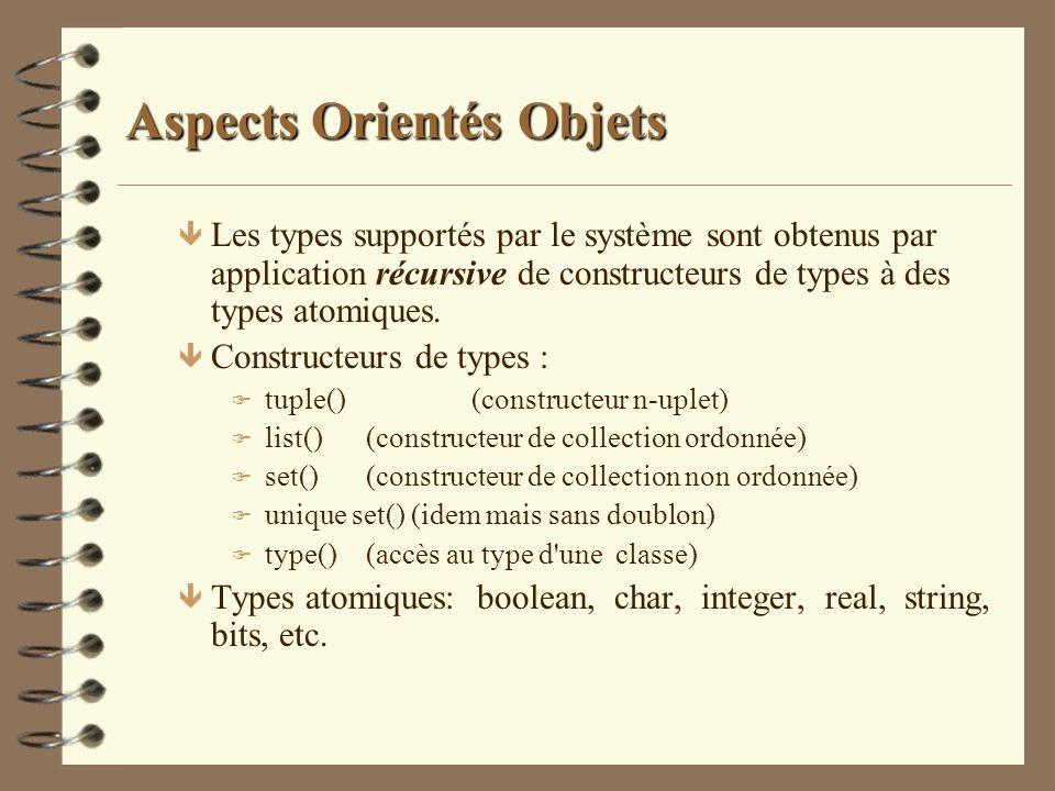 Aspects Orientés Objets ê Les types supportés par le système sont obtenus par application récursive de constructeurs de types à des types atomiques. ê