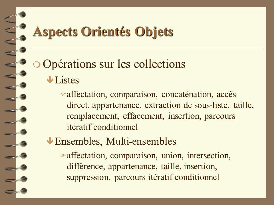 Aspects Orientés Objets m Opérations sur les collections ê Listes F affectation, comparaison, concaténation, accès direct, appartenance, extraction de